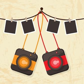 Polaroid câmera retro vector