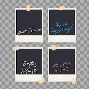 Polaroid instantâneo em branco isolado retro com citações
