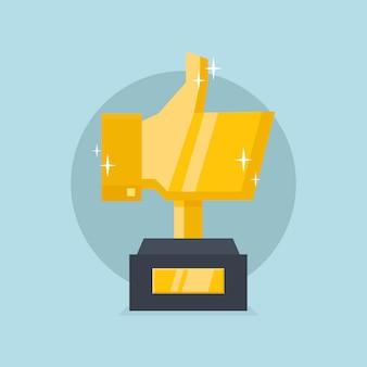 Polegar dourado para cima troféu