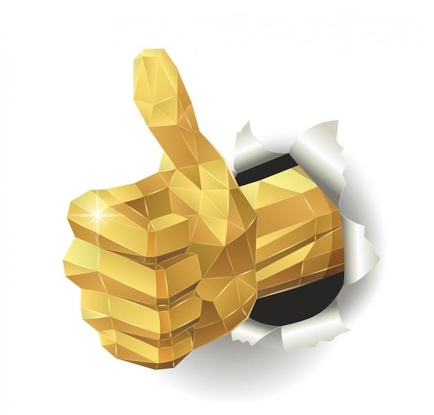 Polegar dourado para cima