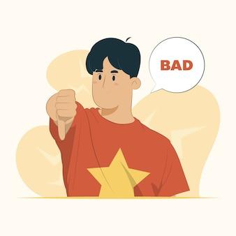 Polegar para baixo gesto infeliz com raiva mostrando conceito de má expressão negativa de rejeição