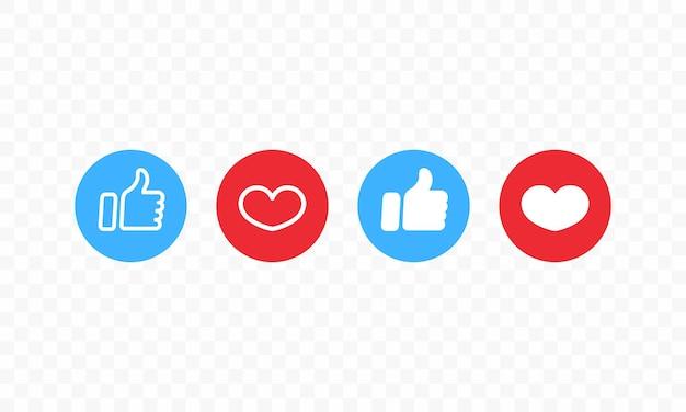 Polegar para cima e o ícone de um coração. gosto e coração. ícone de mídia social