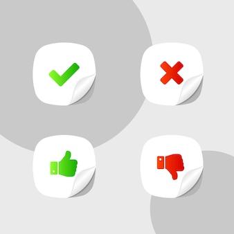 Polegar para cima, polegar para baixo e símbolos de marca de seleção e ícone de cruz