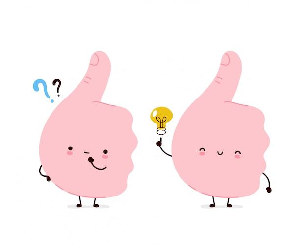 Polegares engraçados bonitos acima do gesto com ponto de interrogação e lâmpada de ideia. desenho animado personagem ilustração ícone do design.