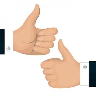 Polegares para cima gesto de ícone para trás e frente isolado