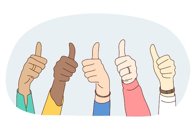 Polegares para cima sinal, conceito de linguagem de mão de gesto. mãos de pessoas de raça mista mostrando um polegar para cima