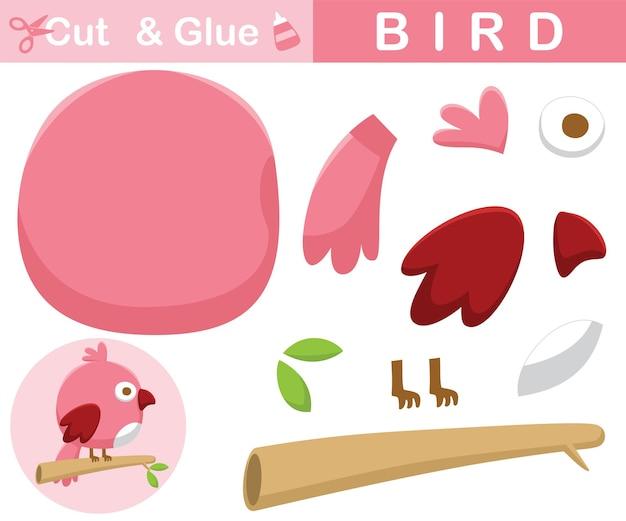 Poleiro de pássaro bonito em galhos de árvores. jogo de papel de educação para crianças. recorte e colagem. ilustração dos desenhos animados
