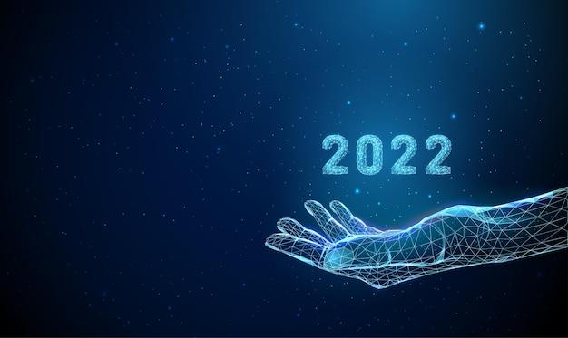 Poli baixo azul abstrato dando mão com o número 2022