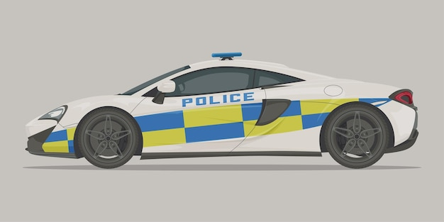Police supercar side view