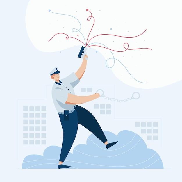 Polícia atirando no ar, ilustração do estilo cartoon