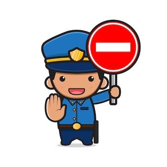 Polícia bonita segurando a ilustração do ícone dos desenhos animados de sinal de stop. projeto isolado estilo cartoon plana
