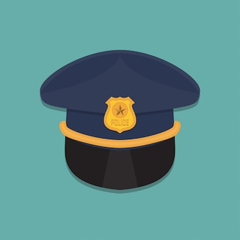 Polícia cap ícone em um design plano