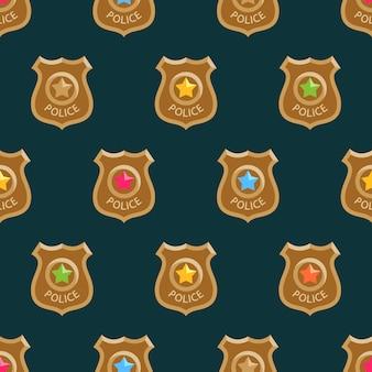 Polícia colorida emblemas padrão de desenho animado.