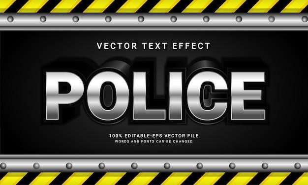 Polícia com tema de efeito de texto editável e policial