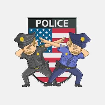 Polícia dabbing com fundo americano