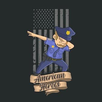Polícia dabbing com fundo da bandeira americana