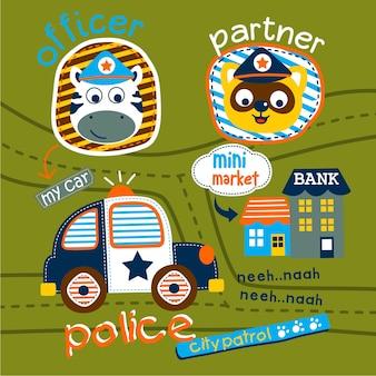 Polícia de carro na rua