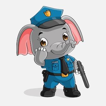 Polícia de elefante fofo, mão desenhada