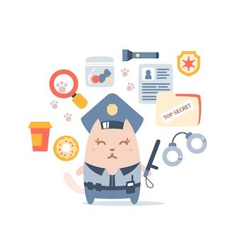 Polícia de gato fêmea personagem no cap do oficial segurando uma vara de polícia