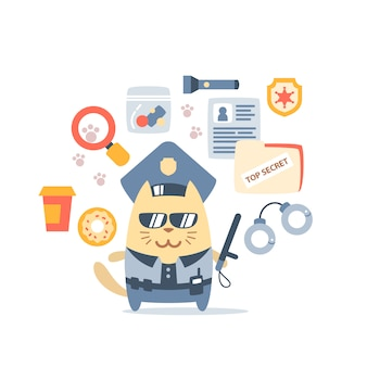 Polícia de gato macho personagem no cap do oficial segurando uma vara de polícia