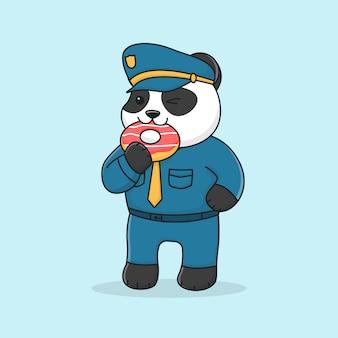 Polícia de panda bonito comendo rosquinha