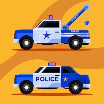 Polícia de resgate de veículos da equipe de polícia ca e caminhão de reboque