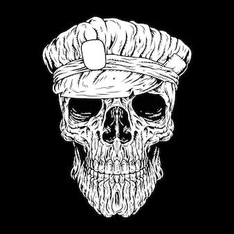 Polícia do crânio, crânio principal, etiquetas ou logotipo
