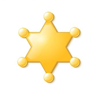 Polícia do símbolo eua. estrela do xerife. isolado