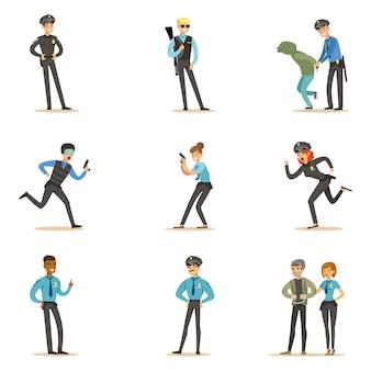 Polícia e estrada patrulha feliz personagem de desenho animado no dever vestindo uniforme policial