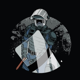 Polícia em armadura anti-motim