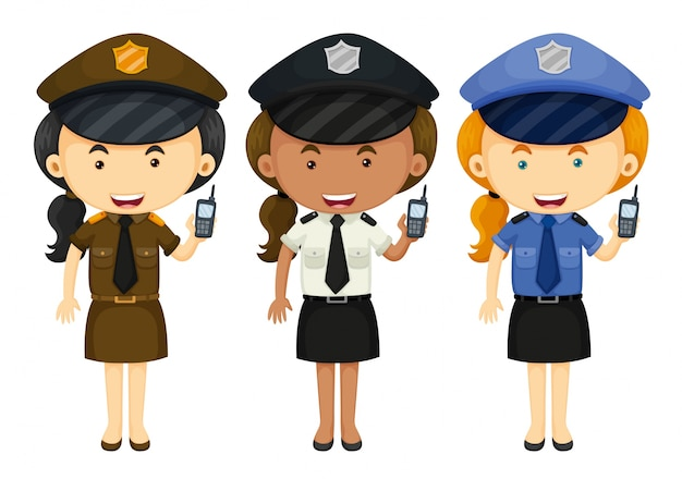Polícia feminina em três ilustrações de uniformes diferentes