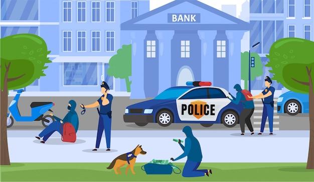 Polícia homens segurança e assalto ao crime bancário, policial apanhou criminosos perto de ilustração dos desenhos animados de construção de banco.