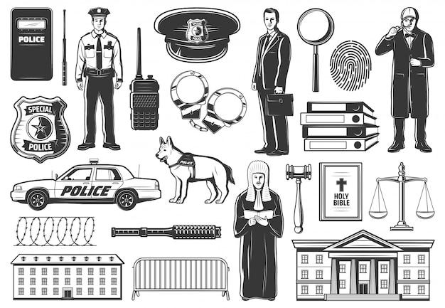 Polícia, juiz da legislação, advogado e detetive