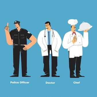 Polícia médico e chef personagem ilustração