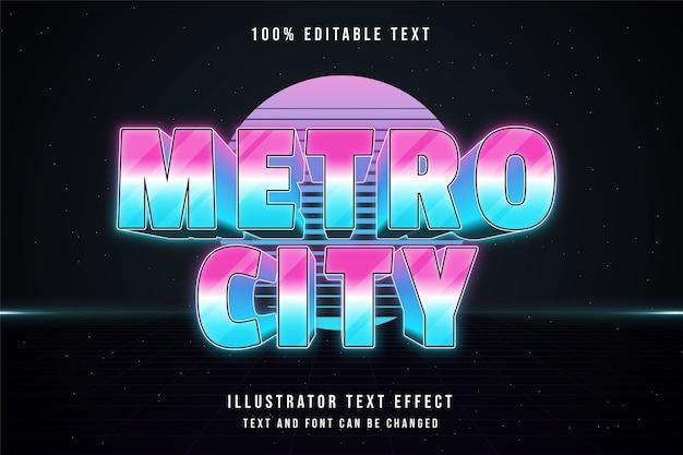 Polícia metropolitana, estilo de texto 3d editável com efeito de texto azul gradação rosa neon