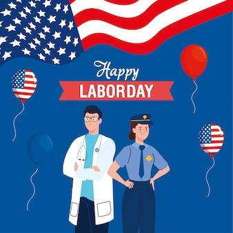 Polícia mulher e médico homem com bandeira eua e balões vector design