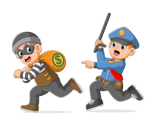 Polícia persegue captura o ladrão segurando uma bolsa de dinheiro ilustração
