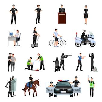 Polícia pessoas no escritório e fora de conjunto de ícones de cores planas