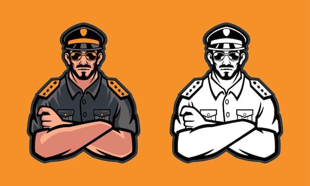 Polícia usando é ilustração de óculos