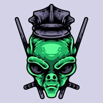 Policiais alienígenas com personagem de dois bastões