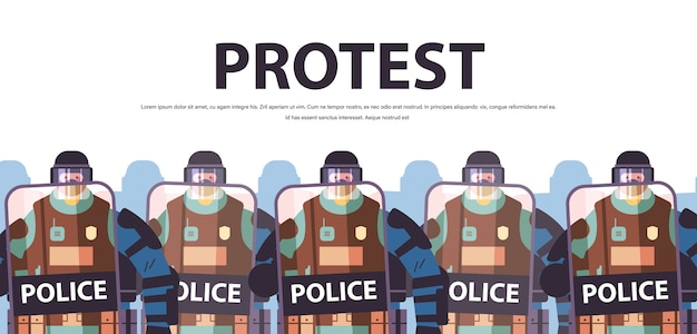 Policiais com escudos e cassetetes policiais de choque em pé juntos manifestações de manifestantes controle conceito cópia espaço