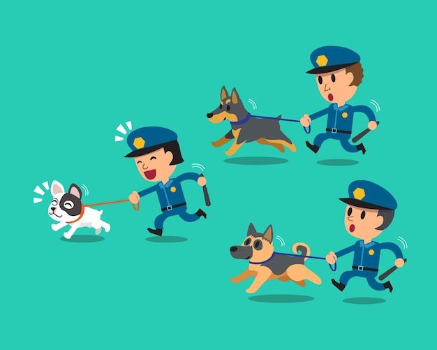 Policiais de guarda de segurança dos desenhos animados com cães de guarda da polícia