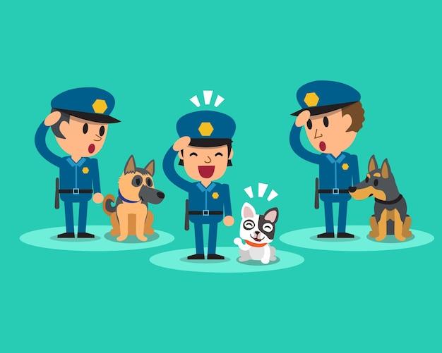 Policiais de guarda de segurança dos desenhos animados com cães de guarda