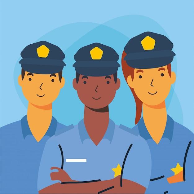 Policiais homens e mulher trabalhador design