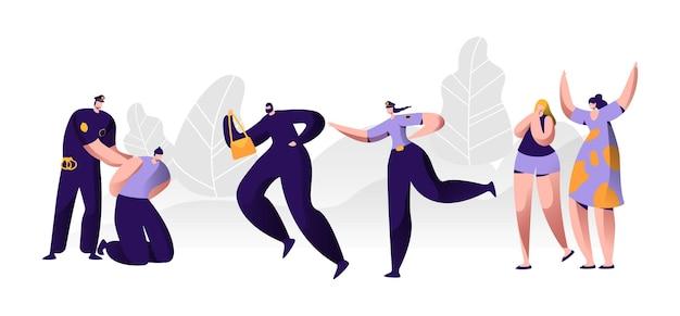Policiais no trabalho. policial colocando algemas nas mãos do agressor, personagem de mulher pegando o ladrão para prendê-lo, criminoso roubar o saco da vítima, testemunhar chorar ajuda. ilustração em vetor plana dos desenhos animados