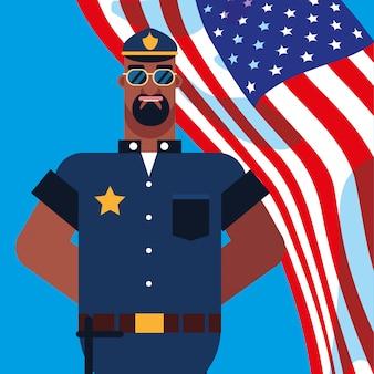 Policial com bandeira eua
