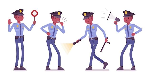 Policial com sinais e luz
