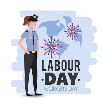 Policial com uniforme para o feriado do dia de trabalho