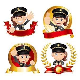 Policial da vitória com diferentes poses