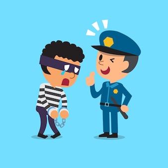 Policial de desenho animado e ladrão